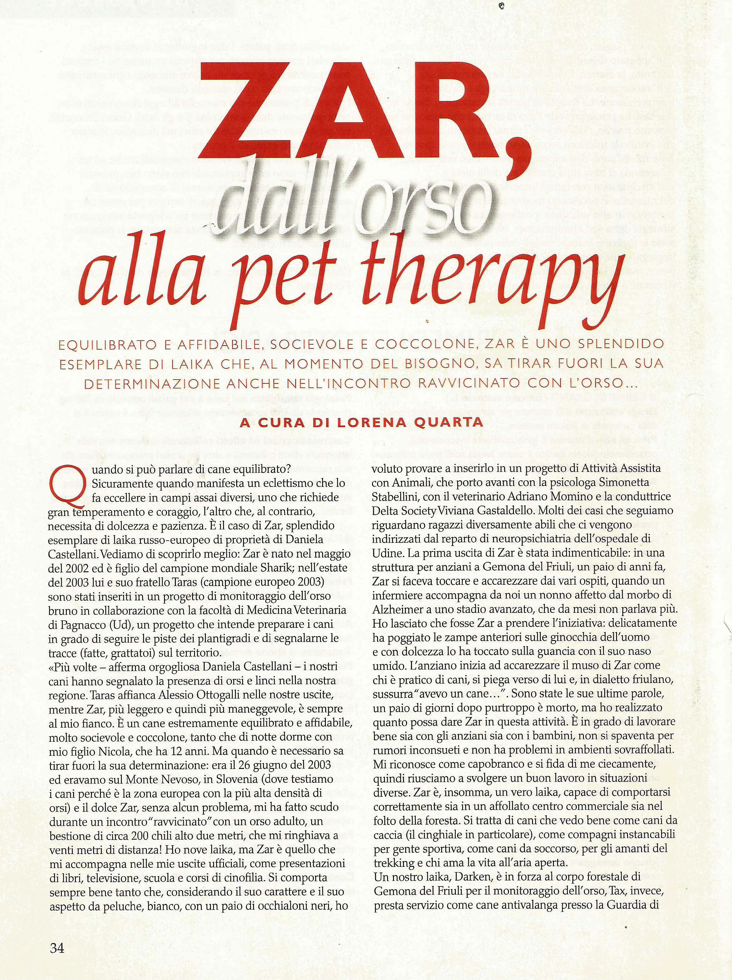 Zar, dall'orso alla PET THERAPY