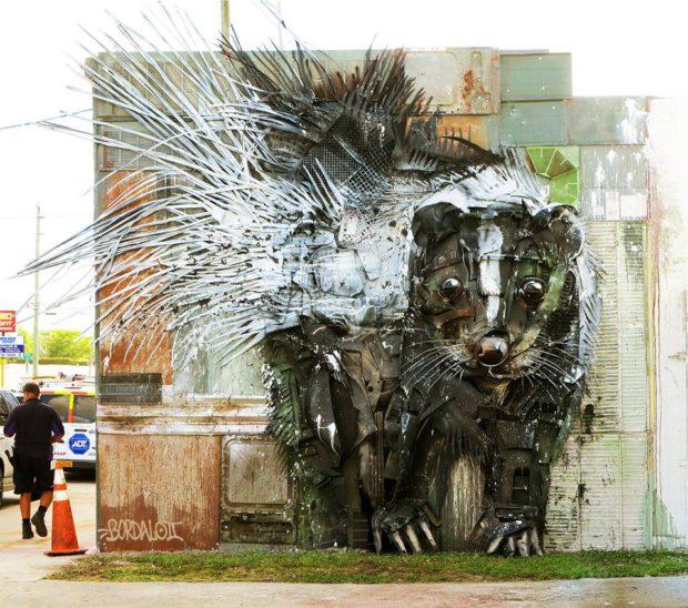 Bordalo II - Piece done in Miami, Florida for Uninhibitedart mural festival
