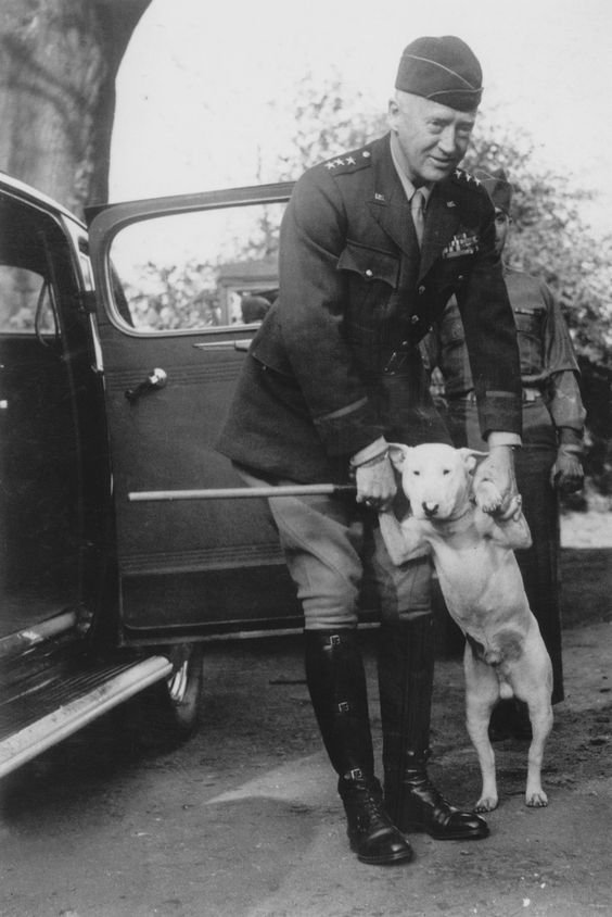 American General George S. Patton with his bull terrier. 1944