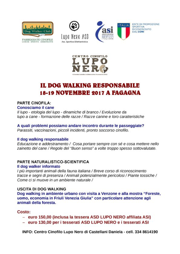 DOG WALKING RESPONSABILE CORSO